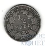 1/2 марки, серебро, 1906 г., J, Германия