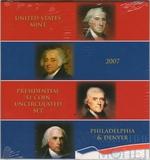 Набор из 8 монет номиналом 1 доллар США, 2007 г., президенты, монетные дворы P и D