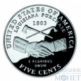 """5 центов США, 2004 г., юбилейная монета """"Освоение запада - покупка Луизианы"""""""