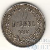 Монета для Финляндии: 1 марка, серебро, 1908 г.