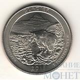 """25 центов США, 2011 г., """"Национальный парк Глейшер"""" D"""