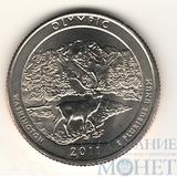 """25 центов США, 2011 г., """"Национальный парк Олимпик"""" P"""