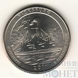 """25 центов США, 2011 г., """"Национальный парк Виксбур"""" D"""