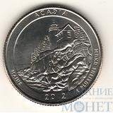 """25 центов США, 2012 г., """"Национальный парк Акадия"""" D"""