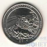 """25 центов США, 2014 г., """"Национальный парк Шенандоа"""" D"""