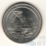 "25 центов США, 2014 г., ""Национальный парк Арчес"" D"