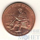 """1 цент США, 2009 г., юбилейная монета """"Юность Линкольна"""""""
