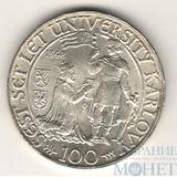 100 крон, серебро, 1948 г., Чехословакия