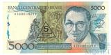 5000 крузейро, 1989 г., Бразилия, с надпечаткой