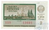 Билет денежно-вещевой лотереи, 18 апреля 1975 года, выпуск 2