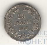 Монета для Финляндии: 25 пенни, серебро, 1897 г.