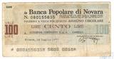 Банковский чек, La Banca Popolare di Novara, 100 лир, 1977 г., Италия