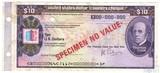 """Дорожный чек, 10 долларов,  Образец США """"Томас Кук"""", Американская Автомобильная Ассоциация"""
