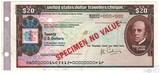 """Дорожный чек, 20 долларов,  Образец США """"Томас Кук"""", Американская Автомобильная Ассоциация"""