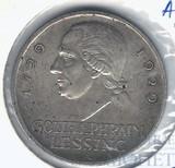 3 марки, серебро, 1929 г., А, Веймарская республика, Лессинг(Германия)