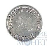 20 пфеннингов, серебро, 1874 г., D, Германия