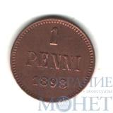 Монета для Финляндии: 1пенни, серебро, 1898 г.