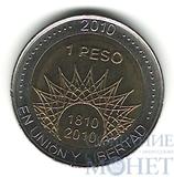"1 песо, 2010 г., Аргентина ,""200 лет Аргентине - парк Эль-Палмар"""