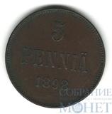 Монета для Финляндии: 5 пенни, 1898 г.