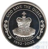 """50 пенсов """"50-летие вступления на престол Елизаветы II"""", 2002 г., остров Святой Елены"""