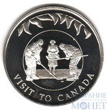 """50 пенсов, 2002 г., Фолкленские острова, """"Визит Елизаветы II в Канаду"""""""