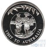 """50 пенсов, 2002 г., Фолкленские острова, """"Визит Елизаветы II в Австралию"""""""