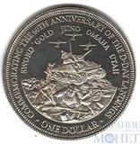 """1 доллар """"Празднование 60-летнего юбилея начала операции в Нормандии"""", 2004 г., острова Кука"""