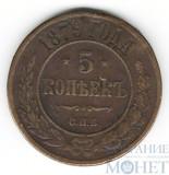 5 копеек, 1879 г., СПБ,(забоина на реверсе)