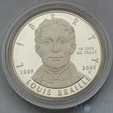 """1 доллар, серебро, 2009 г.,""""200 лет со дня  рождения Луи Брайля"""", США"""