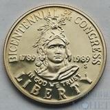 """50 центов, 1989 г., США, (S),""""200 лет конгрессу"""""""