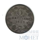 6 крейцеров, серебро, 1835 г., Баден(Германия)